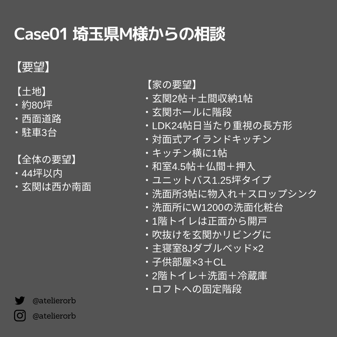 個別間取り相談Case01要望